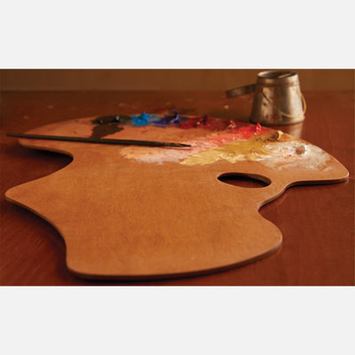 New Wave Handcrafted Maple Wood Expressionist Confidant Ergonomic Hand Held Artist Paint Palette with oil paint