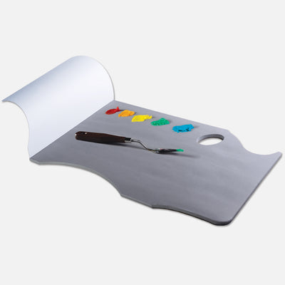 New Wave neutral grey Grey Pad Ergonomic Hand Held disposable paper tear away artist paint palette glued on 3 edges with paint and a palette knife