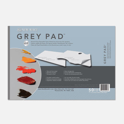 New Wave neutral grey Grey Pad Rectangular disposable paper tear away artist paint palette glued on 3 edges