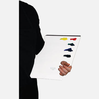 New Wave White Pad Ergonomic Hand Held white disposable paper tear away artist paint palette glued on 3 edges with paint being held