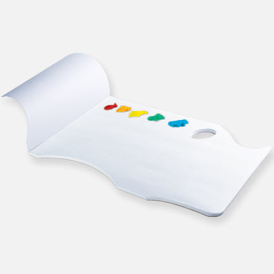 New Wave White Pad Ergonomic Hand Held white disposable paper tear away artist paint palette glued on 3 edges with paint