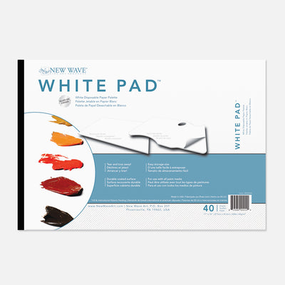 New Wave White Pad Rectangular white disposable paper tear away artist paint palette glued on 3 edges
