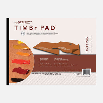 "New Wave natural wood toned TIMBr Pad Rectangular 12""x16""disposable paper tear away artist paint palettes glued on 3 edges"