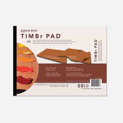 "New Wave natural wood toned TIMBr Pad Rectangular 9""x12""disposable paper tear away artist paint palettes glued on 3 edges"
