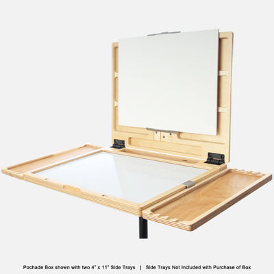 "u.go Plein Air Anywhere Pochade Box, 11"" x 14.5"" model, on a tripod with u.go Anywhere side trays"