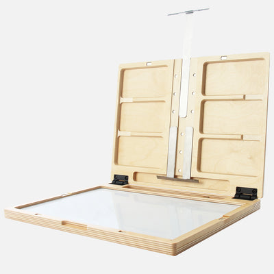 "u.go Plein Air Anywhere Pochade Box, 11"" x 14.5"" model, full extension of canvas panel holders"