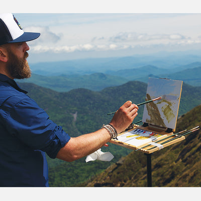"u.go Plein Air Anywhere Pochade Box, 8.4"" x 11.25"" model, plein air landscape painting with oil paint"