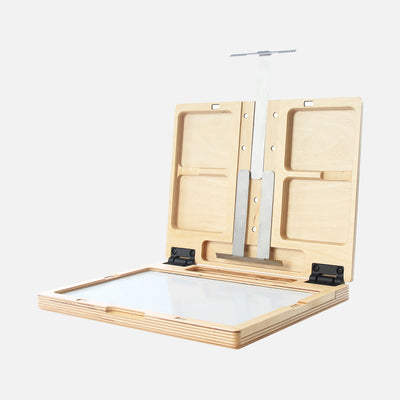 "u.go Plein Air Anywhere Pochade Box, 8.4"" x 11.25"" model, full extension of panel canvas holders"