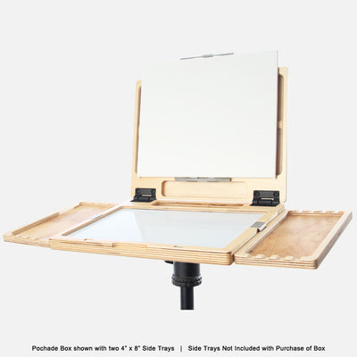 "u.go Plein Air Anywhere Pochade Box, 8.4"" x 11.25"" model, on tripod with u.go Anywhere side trays"