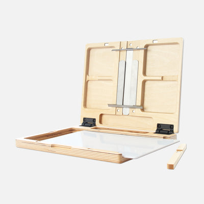 "u.go Plein Air Anywhere Pochade Box, 8.4"" x 11.25"" model, removable side wall and artist paint palette"