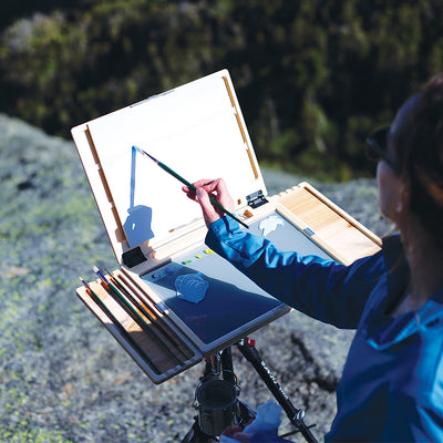 "u.go Plein Air Anywhere Side Tray 4"" x 11"" on u.go Anywhere Pochade Box while plein air landscape painting"