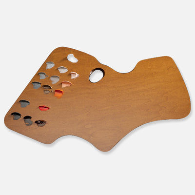New Wave Handcrafted Maple Wood Academian Confidant Ergonomic Hand Held Artist Paint Palette with oil paint