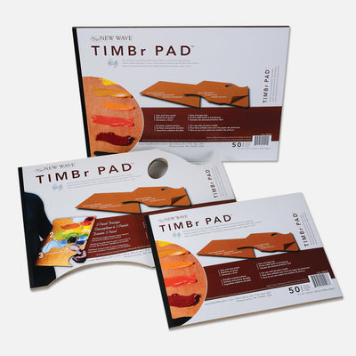 All 3 sizes of New Wave natural wood toned TIMBr Pad Ergonomic Hand Held and Rectangular disposable paper tear away artist paint palettes glued on 3 edges