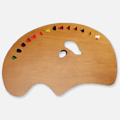 New Wave Handcrafted Maple Wood Grand View Ergonomic Hand Held Artist Paint Palette with oil paint