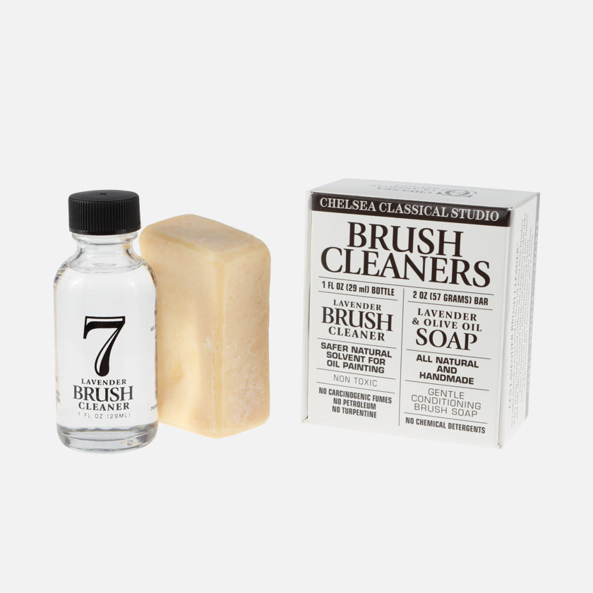 Chelsea Classical Studio Lavender Brush Cleaner and Lavender and Olive Oil Brush Soap Kit