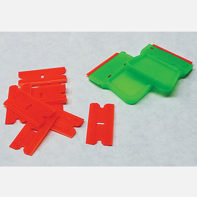Two Artist Palette plastic razor blade scrapers with 10 plastic blades