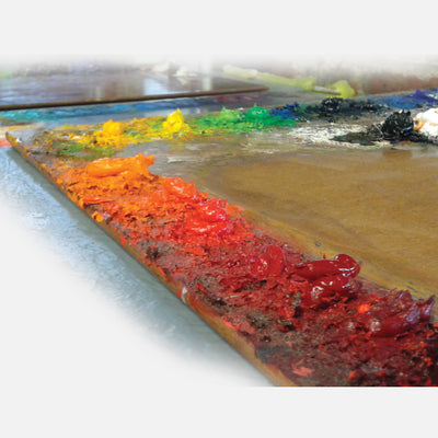 New Wave handcrafted POSH Wood natural stained table top artist paint palette with oil paint