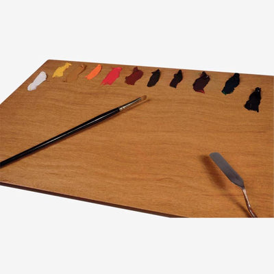 New Wave handcrafted POSH Wood natural stained table top artist paint palette with paint and artist brush