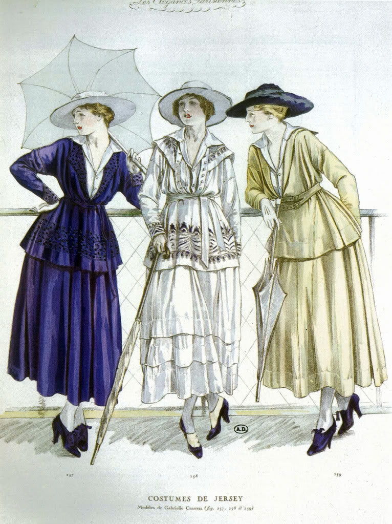"Illustration showing three women in day outfits by ""Gabrielle Channel"" (sic) consisting of belted tunic jackets and full jersey skirts for March, 1917"