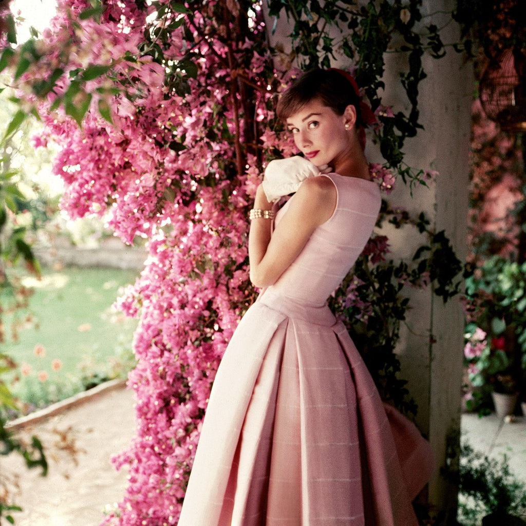 Audrey Hepburn in pink Givenchy 1955 Norman Parkinson