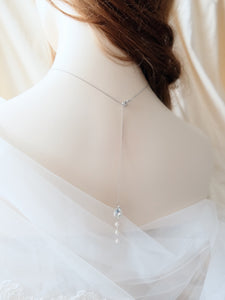 Bridal backdrop necklace with pearls and rhinestone for backless wedding dress
