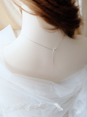 Bridal lariat backdrop necklace for backless wedding dresses