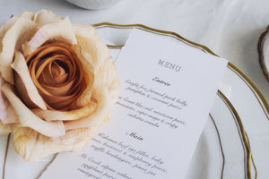 Ophelia & James deckle edge menu cards