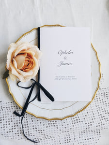 Ophelia & James ceremony booklets with black velvet ribbon