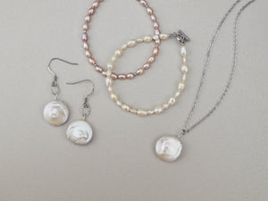 Dainty pearl necklace bracelet earrings set handmade