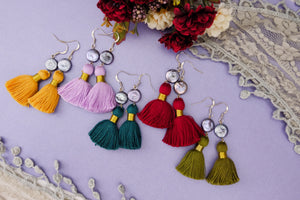 Colourful statement jewellery tassel earrings