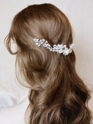 Unique bridal headpiece for romantic brides and garden weddings
