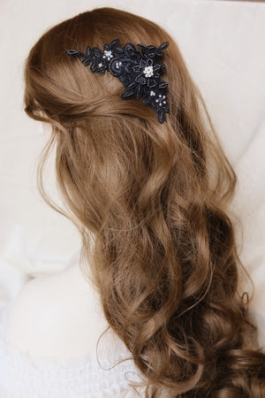 Hand beaded lace hair piece in black by Singapore bridal artist