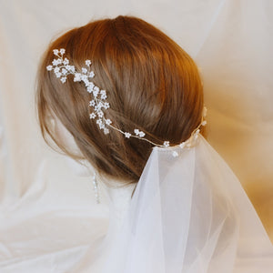 Wedding hairstyle with veil and headpiece, handmade bridal hair accessory for updo
