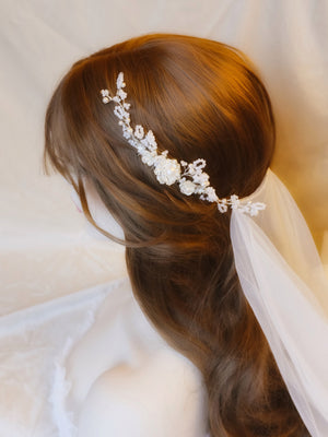 Romantic bridal veil hairstyle accessories side hair comb hair piece for weddings