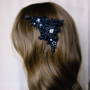 Black lace bridal headpiece for unconventional brides