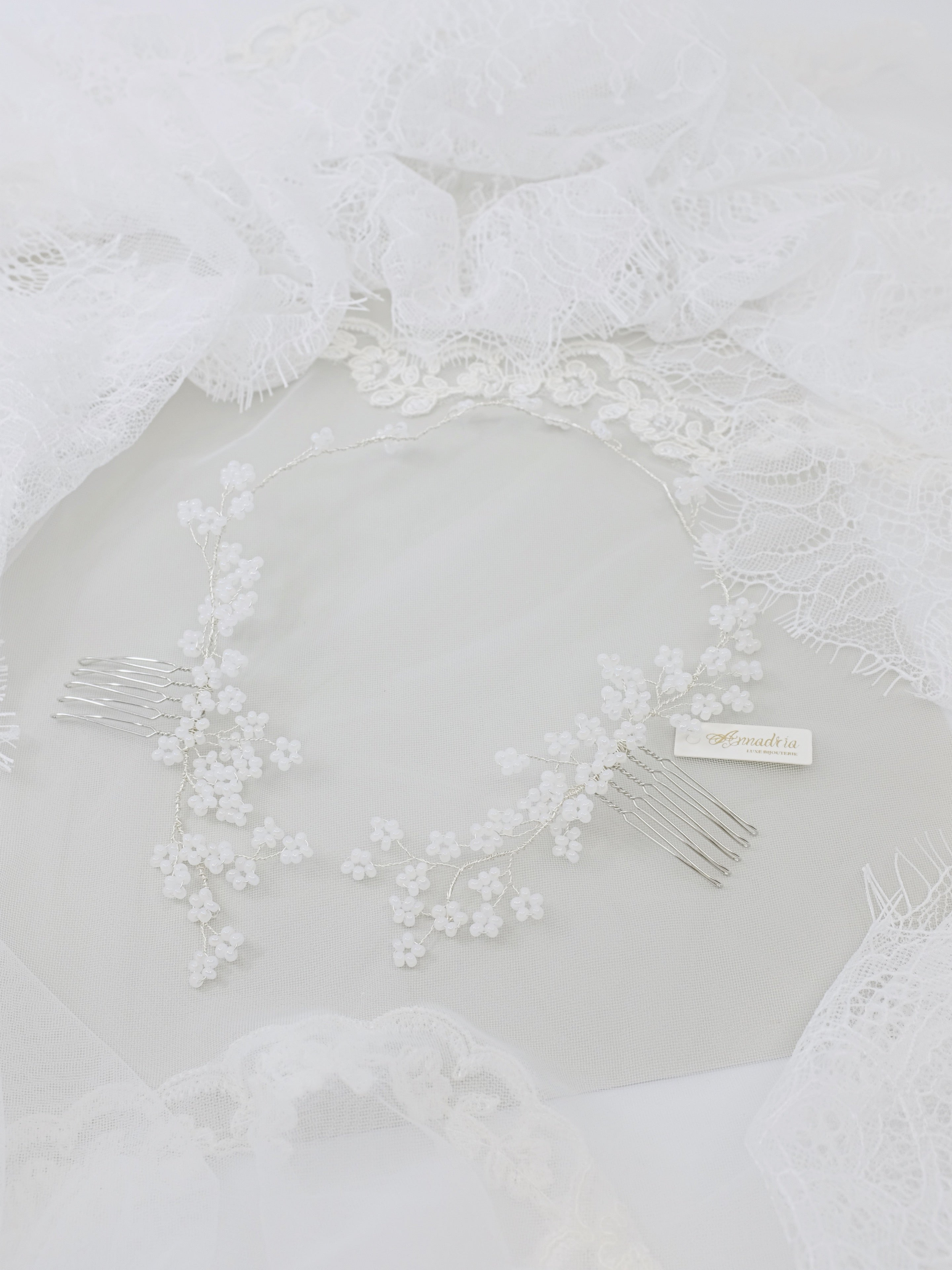 Floral bride hair accessories with white cherry blossom hair combs