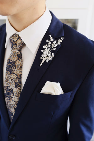 Beaded groom wedding boutonniere unique flower buttonhole