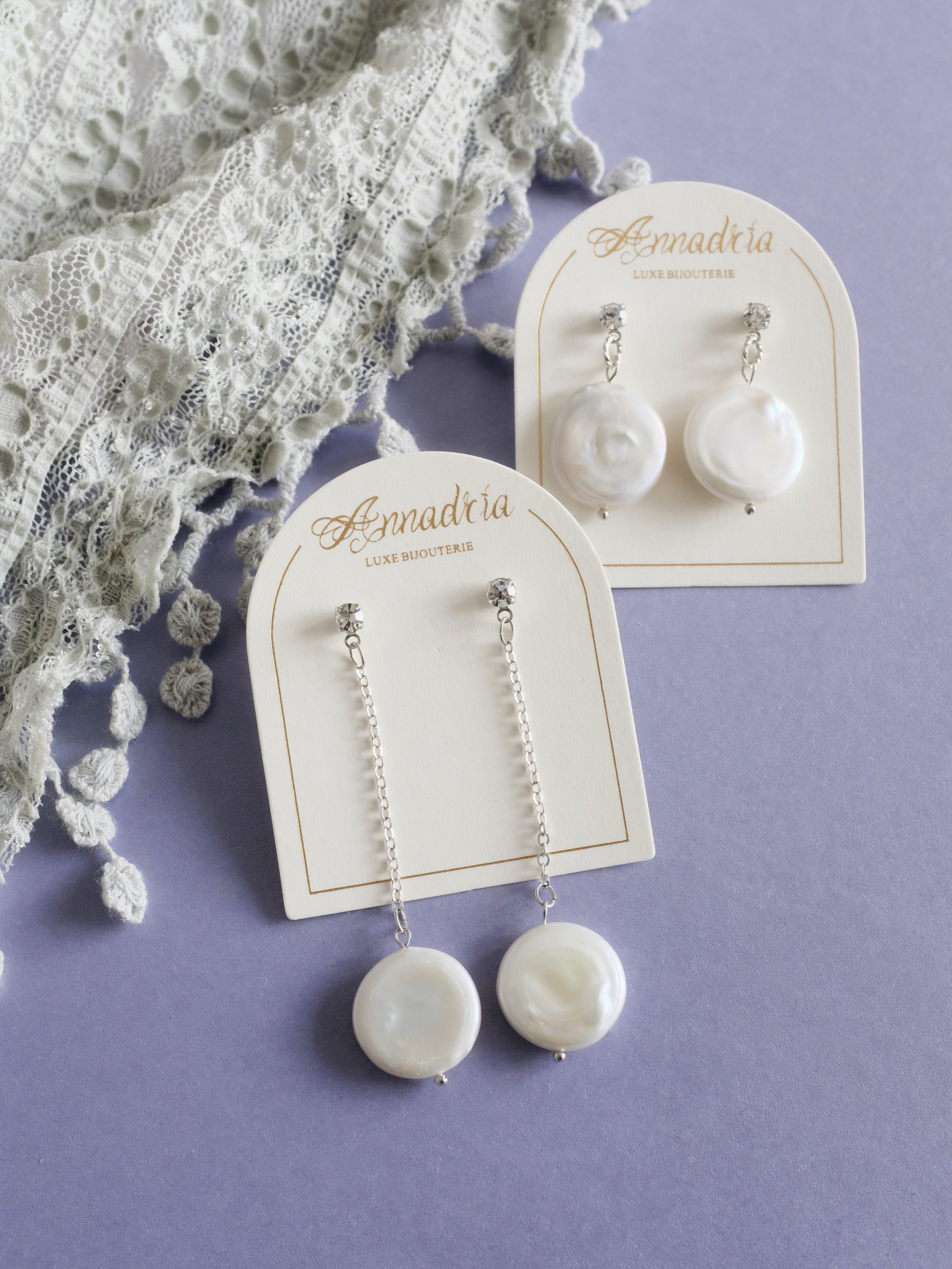 Artemis chain drop pearl earrings