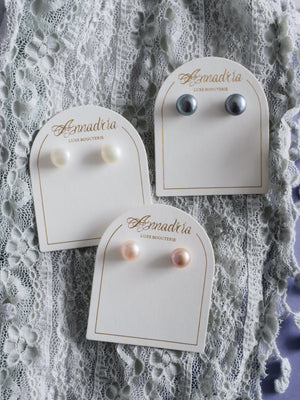 Aphrodite freshwater pearl earrings in white