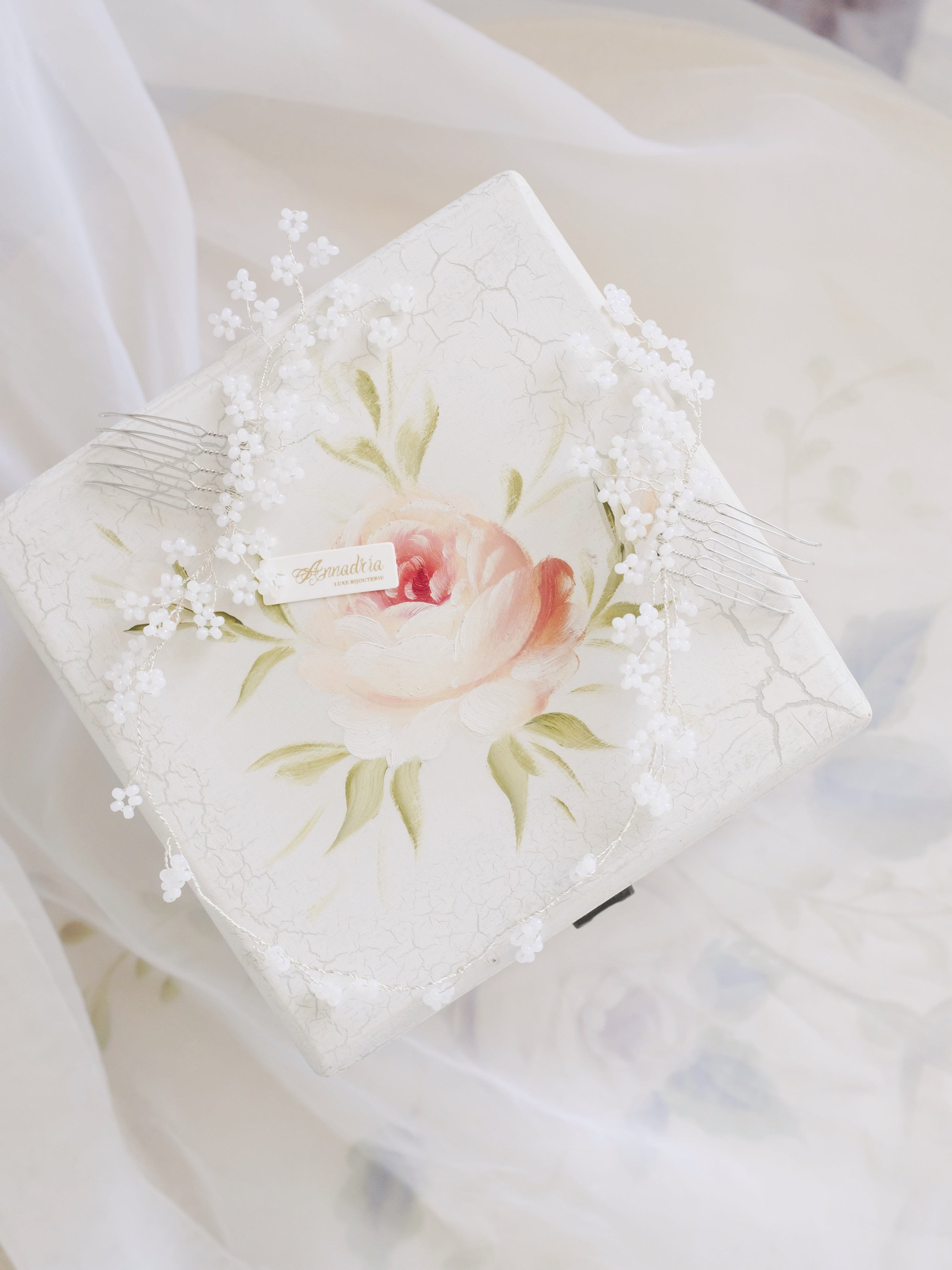 Cherry Blossom wedding headpiece handmade with white beaded flowers for bride