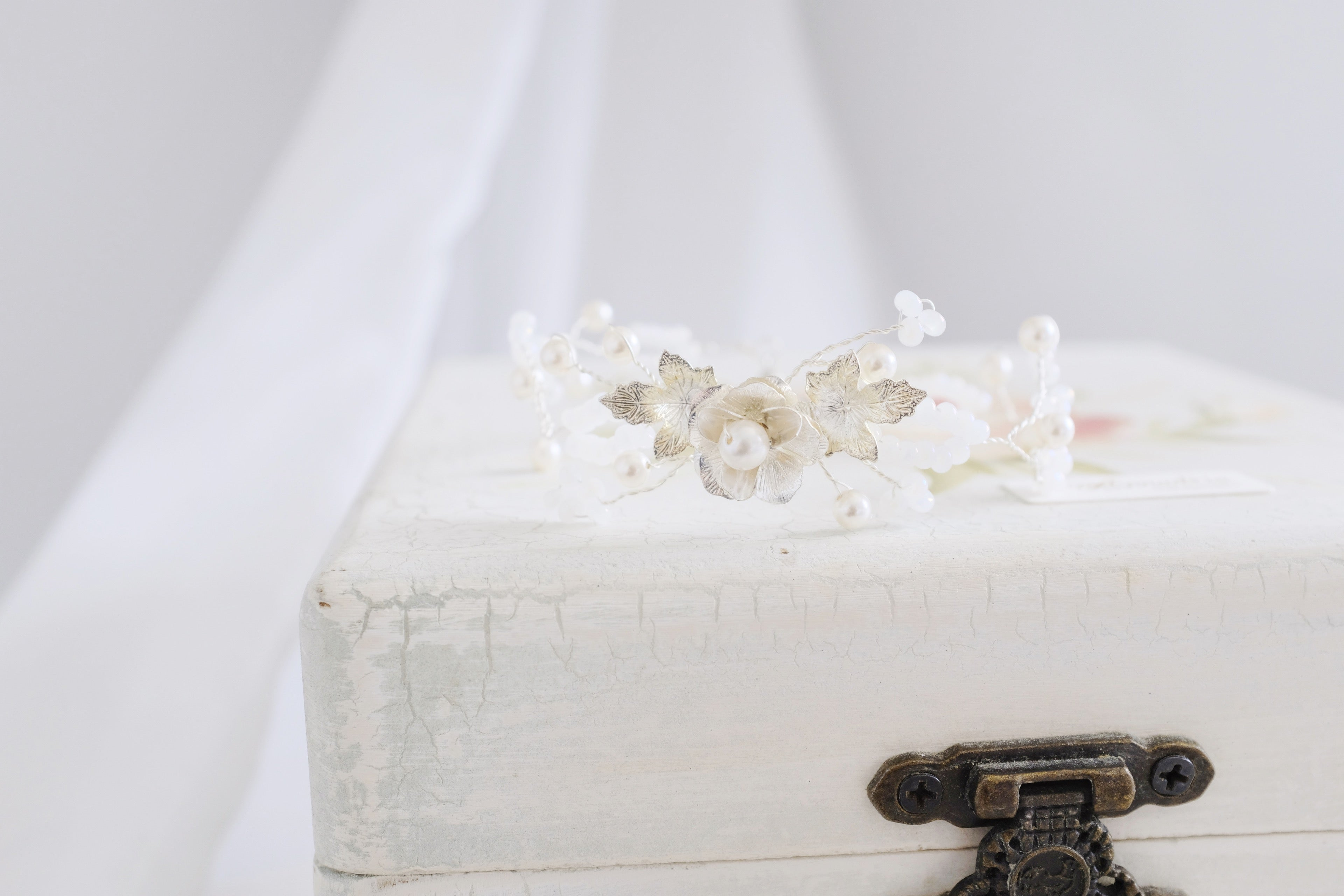 Ethereal bridal accessories floral pearl bracelet bespoke