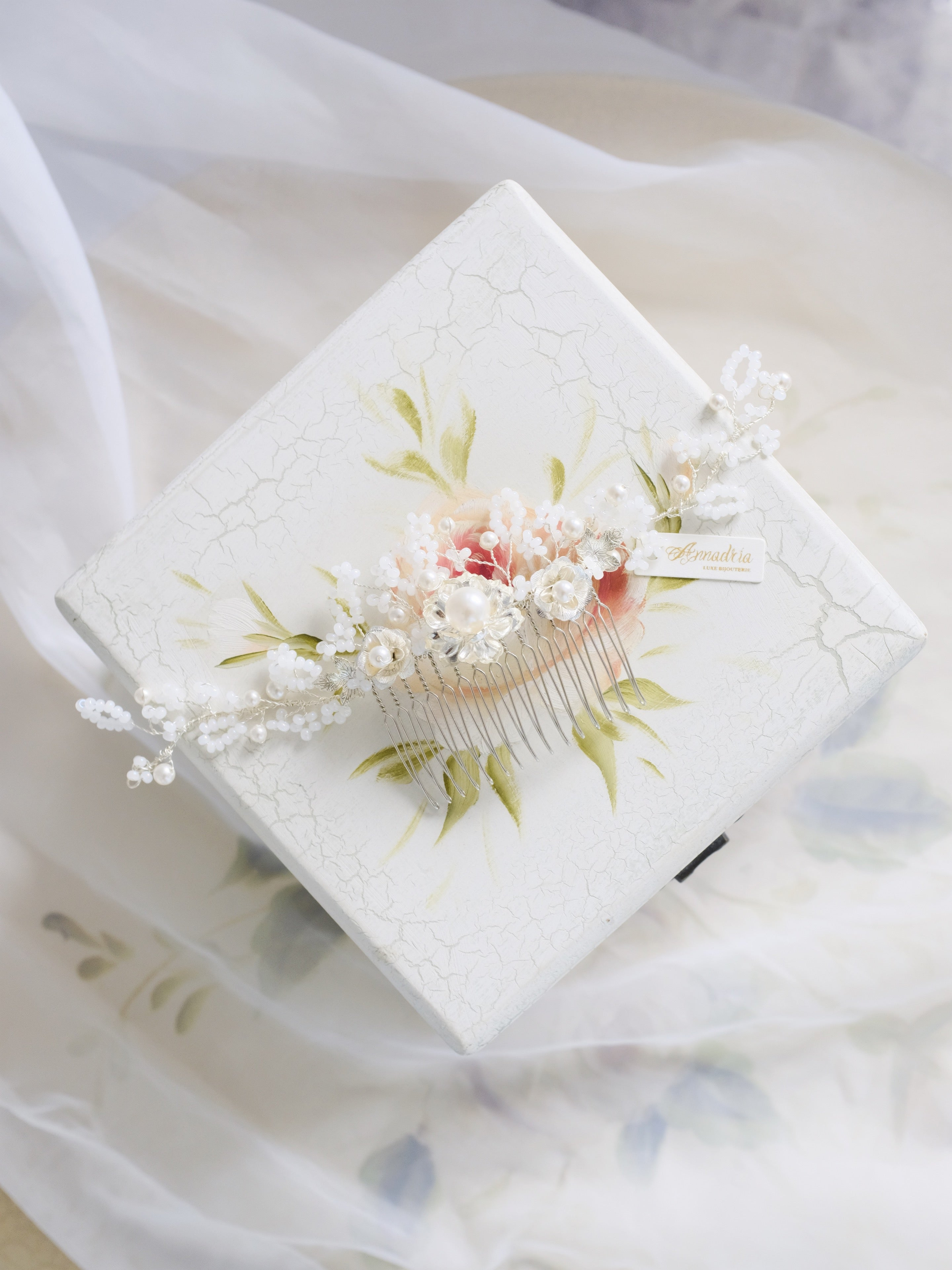 Vintage inspired floral headpiece hair comb in white