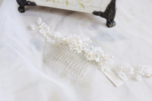 Romantic bridal hair accessory, white pearls and flowers handmade in Hong Kong and Singapore