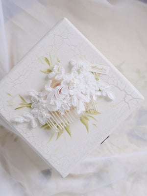 Singapore wedding hair accessories bridal lace hair comb white beaded headpiece