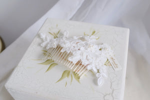 Handmade wedding accessories in Singapore, classic white lace bridal headpiece