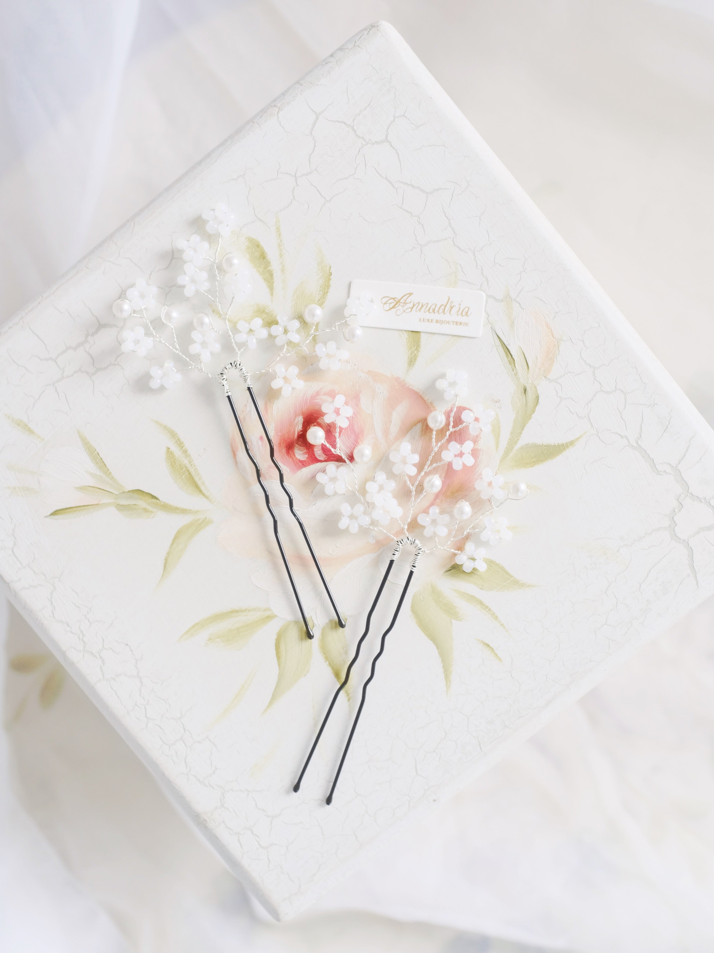 Luxury fine art wedding hair pieces cherry blossom hair pin