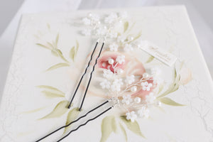 Cherry blossom hair pin for bride handmade wedding hair accessories