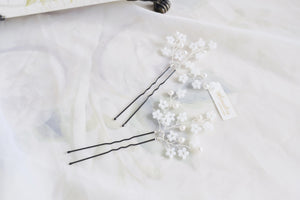 Handmade cherry blossom hair pins for bride