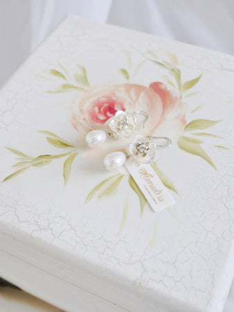 Hong Kong handmade bridal earrings pearl drop