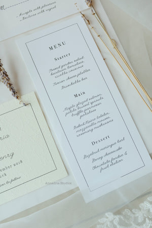 Caroline & Edward straight edge menu cards
